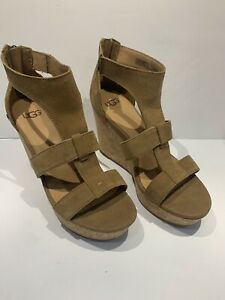 UGG Women's Whitney T-Strap Wedge Sandal Size 7 Chestnut Suede, MSRP $110