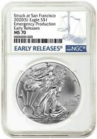 2020 (S) Silver Eagle NGC MS70 Early Releases Emergency Production