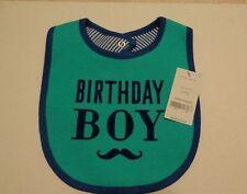 Carters Birthday Boy Bib, Blue & Tourquoise Moustache, Boy's First Birthday