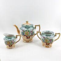 Hand Painted Japan Lusterware Tea Set Teapot, Creamer & Sugar Bowl Basket Flower