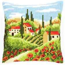 Village - Large Holed Printed Tapestry Canvas Cushion Kit - Chunky Cross Stitch