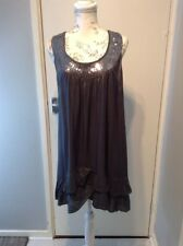 EVIE UK 14 GREY FLOATY FRILL SEQUIN EMBELLISHED SKATER A LINE DRESS LOVELY ITEM