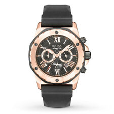 New Bulova 98B104 Marine Star Chronograph Rose Gold Tone Rubber Strap Mens Watch