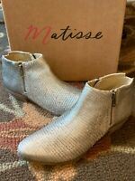 ANTHROPOLOGIE MATISSE PABLO PEWTER SILVER LEATHER BOOT SNAKE LIKE 8.5 M BOX