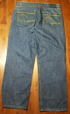 Men's Jeans 40x32 Blue Denim Qruel Company Stitching Distressed missing tag A619