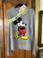 Disney Grey Sweater Size Large (fits Like Small) And Disney Belt Size 80