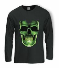 Glow In The Dark Skull Face Long Sleeve T-Shirt Easy Halloween Costume Party