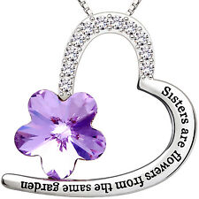 ALOV Silver Sisters are flowers from the same garden Love Heart Pendant Necklace