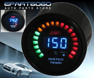 "2"" 52mm JDM Water Temperature Blue Digital Led Auto Gauge Meter Golf Jetta Gti"