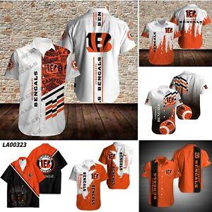 Cincinnati Bengals Men's Sports Collared Causal Short Sleeve Button-Up Shirts