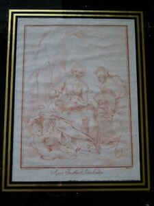 Red Ink Italian Etching Apud Jacobum Alex Calvi. Mary Joseph & Baby Jesus (?)