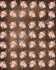 "NEW  ""ROSE GOLD/BROWN"" FLORAL ROSES CANVAS PRINTED FABRIC SHEET..HAIR BOWS,"