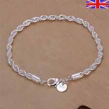Silver 925 Sterling Rope Bracelet Twisted Rope Chain Link Free Gift Bag