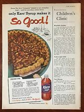 Vintage 1958 Original Print Ad KARO CORN SYRUP w/ Pecan Pie Recipe ~so good~