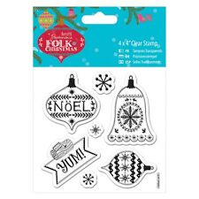 "YUM - 4""x4"" Clear Stamp Set - Folk Christmas Collection - DoCrafts"