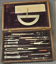 Antique 19th cent. drafting compass set bone protractor & handles mahogany case