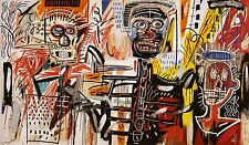 QUADRO STAMPA SU TELA JEAN MICHEL BASQUIAT  PHILISTINES 80X45 POP ART
