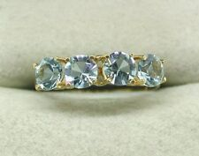 A Pretty Vintage 18ct Gold Four Stone Pale Blue Cubic Zirconia Ring