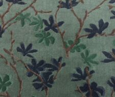 DONGHIA TRYST LIAISON BLUE FLORAL VINE LINEN VELVET UPHOLSTERY FABRIC BY YARD