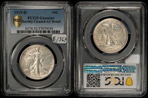 1919-D Walking Liberty Half Dollar - Attractive Key Date - PCGS AU Dets - B1367