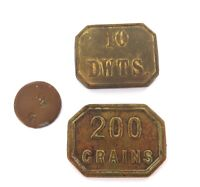 . 3 x 1800s METAL SCALE WEIGHTS. 200 GRAINS, 10 DWTS & ??