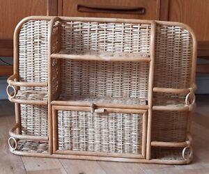 Vintage Mid Century Boho Tikki Bamboo & Rattan Shelf Storage Display Unit