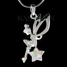 w Swarovski Crystal Rainbow Tinkerbell ANGEL Wing Fairy Tink Star charm Necklace
