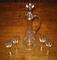 Vintage wine decanter & glasses (4) set etched crystal