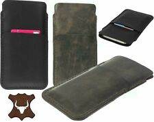 HAND SEWN SLEEVE WITH CARD POCKET GENUINE LEATHER CASE COVER FOR MOBILE PHONES