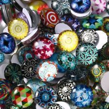 200pcs Cabochons Round Mosaic Tiles for Crafts Glass Mosaic for Jewelry Making