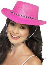 Ladies Cowgirl Pink Sparkly Cowboy Wild West Sheriff Hen Fancy Dress Hat