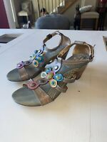 NEW Spring Step L'Artiste Sz 9 40 Colorful Flowers Leather Sandals Frenzie
