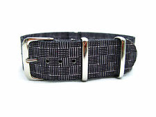 HNS ZULU Double Graphic Printed Vintage Grey Box Plaid Nylon Watch Strap