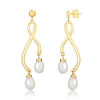 18k Solid Yellow Gold Double Cuff Freshwater Pearl Drop Dangle Women Earrings