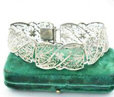 Vintage .835 Sterling Silver Bracelet Wide filigree flower Art Deco gift #W796