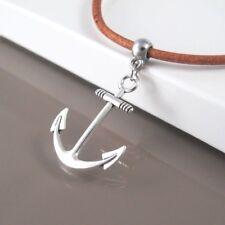 LEGA D'argento Sailor BARCA ancoraggio Ciondolo da Donna Uomo Collana Girocollo in Pelle Marrone