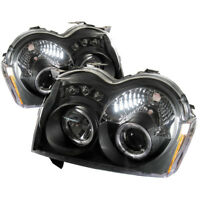 Fit Jeep 05-07 Grand Cherokee Black DRL Dual Halo LED Projector Headlights Lamp