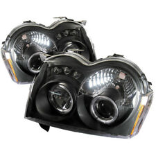 Jeep 05-07 Grand Cherokee Black DRL Dual Halo LED Projector Headlights Lamp
