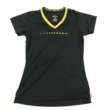 NIKE PRO LIVESTRONG Fitted Shirt Men's Black V-neck Size L Large Lance Armstrong