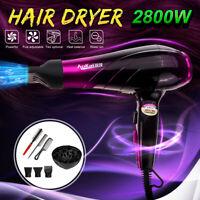 2800W Professional Hair Blow Dryer Powerful Heat Speed Salon Blower + Diffuser