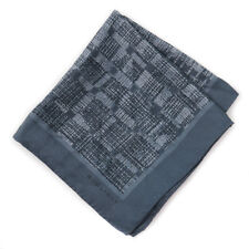 New $115 BOGLIOLI Slate Gray-Green Printed Silk Pocket Square