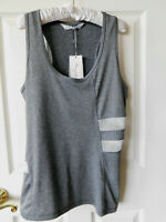 Gottex Moisture Wicking Women's Tank Top Gray & Wht Racerback Athletic Top Large