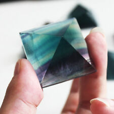 30mm Natural Crystal Pyramid Green Purple Rainbow Fluorite Point Chakra Healing