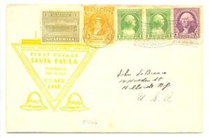 USA -GUATEMALA -1933 -COVER -FIRST VOYAGE SANTA PAULA -