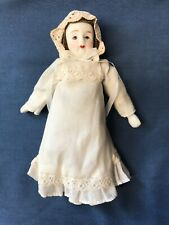 "Vintage Doll with Porcelain Head, Arms/Hands, Legs/Feet Cloth Body 7"" Cotton"