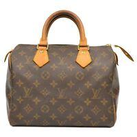Louis Vuitton Speedy 25 M41528 Monogram Mini Boston Hand Bag Purse Brown France