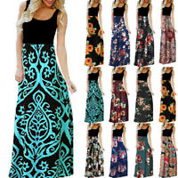 Women's Casual Sleeveless O-neck Print Maxi Tank Beach Party Flower Long Dress