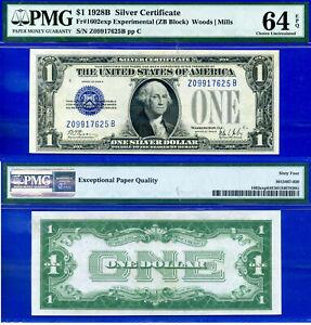 FR-1602exp - 1928-B $1 S/C (( Experimental - ZB BlocK )) PMG 64EPQ # Z09917625B