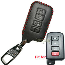 4Btn Leather Key Fob Cover Case for Toyota Highlander RAV4 Camry Avalon Corolla