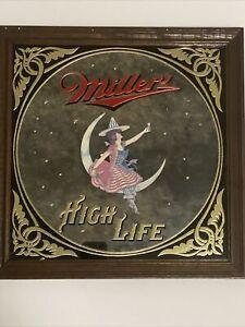 Vintage Miller 'High Life' Mirror on Wooden Frame 14x14